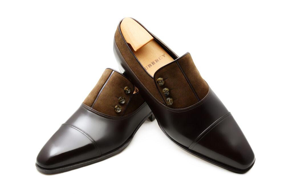 Le mocassin loafer à boutons Malone en bi matière marron cuir et daim