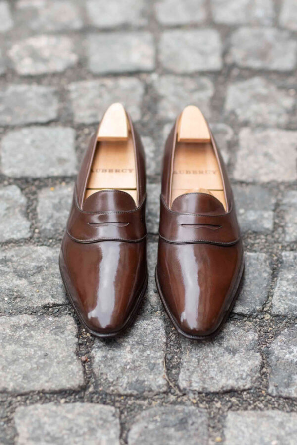 The Darcy penny loafer in mid brown leather calf